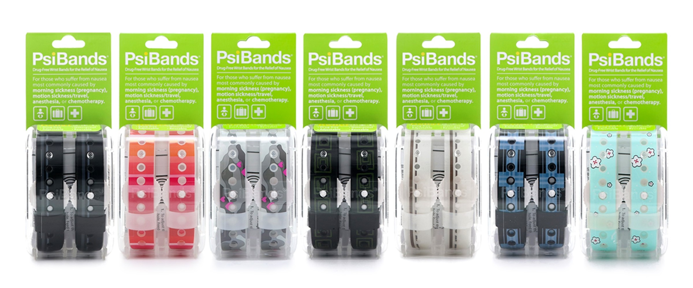 PsiBands Lined up in packaging